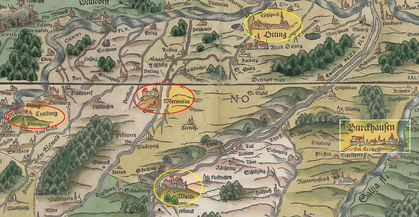 Philipp Apian, Jost Amman: Bairische Landtafeln, 1566, Ausschnitt mit Burghausen, Wald, Kraiburg, Mörmoosen und Neuötting.