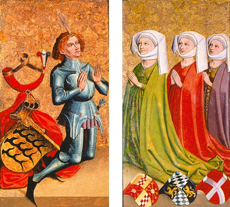 Ulrich V. von Württemberg und seine drei Ehefrauen Margarete von Cleve, Elisabeth von Bayern-Landshut und Margarethe von Savoyen, Diptychon, 15. Jh., Landesmuseum Württemberg, Stuttgart.