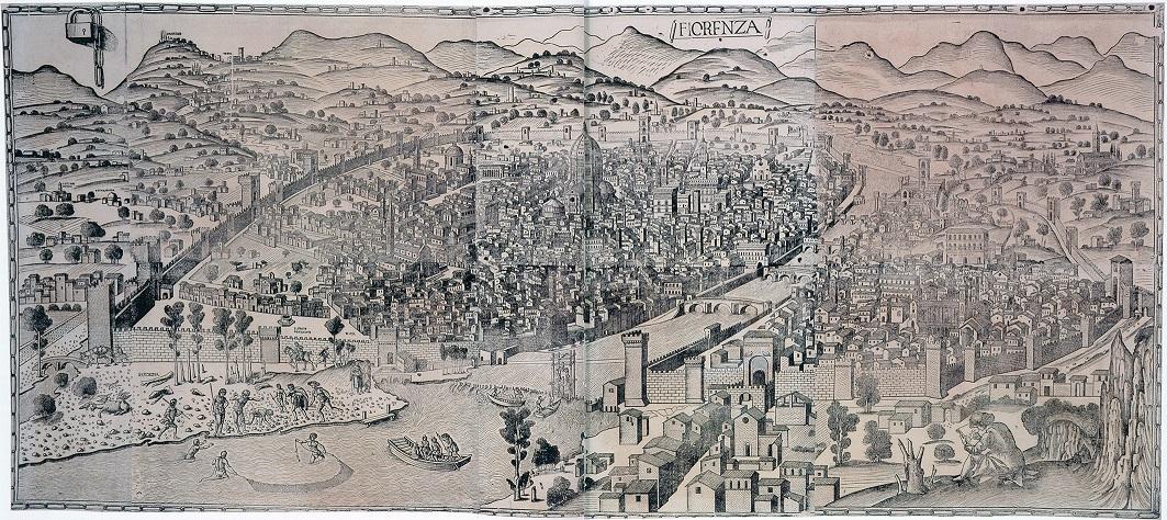Lucantonio degli Uberti (?), Große Ansicht von Florenz, sog. Kettenplan, auch: Veduta della Catena, um 1472, Kupferstichkabinett Berlin. Quelle: KatAus FLORENZ!, Bundeskunsthalle, Hirmer München, 2013, S. 12-13
