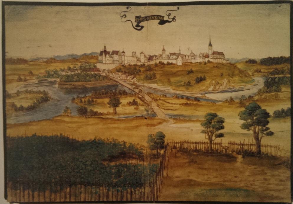 Unbekannter Meister, Die fürstliche Stadt Neuburg, nach 1537, Universitätsbibliothek Würzburg. Quelle: KatAus Reise, Rast und Augenblick, 2002, S. 21