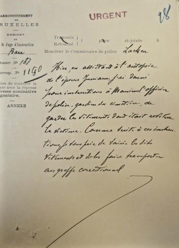 AGR2, Cour d'Assises de Brabant, Dossier 1308, Affaire Jumiaux,  Note transmise au juge d'instruction Bara lui indiquant que les vêtements de la victime sont transmis au greffe correctionnel, 1905.