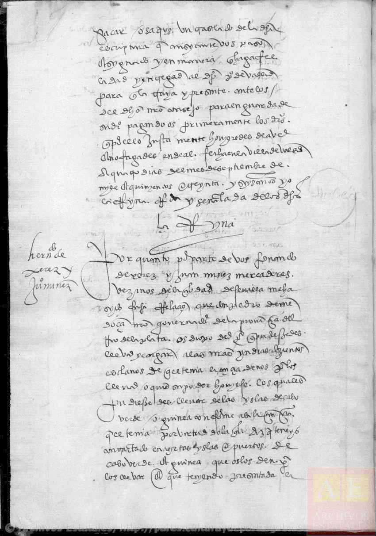 Ejercicio diplomático y paleográfico: Petición de parte. Traslado de esclavos al Río de la Plata. 1536.