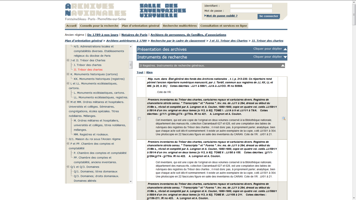 Screenshot of the list of inventories to access the JJ series in the French National Archive