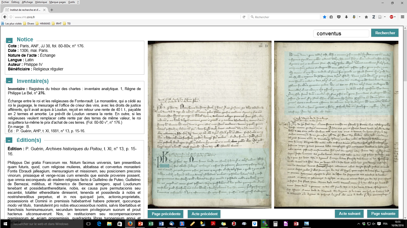 IRHT's interface proposal to access the Chancery corpus: aligning and merging early modern inventories (tables of contents), 20th c. inventories and indexes, partial editions, and the result of automated indexing performed in the HIMANIS project