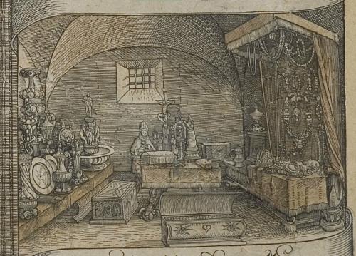 Zeitgenössische Abbildung der Schatzkammer Maximilians I. in Wien, auf der passenderweise ein Teil des burgundischen Erbes Marias von Burgund zu sehen ist. Ausschnitt aus dem Stich, der im Rahmen des Entwurfs zur Ehrenpforte für Maximilian I., unter Beteiligung u.a. Dürers, Kölderers und Altdorfers, um 1515 entstanden ist.