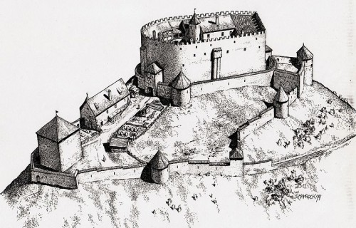 Rekonstruktionszeichnung der Burg Eisenberg Quelle: Wikimedia Commons, CC BY-SA 3.0 DE, Roger Mayrock