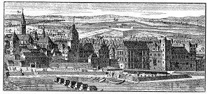 Die Martinsburg in Mainz nachJohann Friedrich Probst, um 1720. Links der alten Burg der neue Flügel, daran anschließend Kanzlei und Hofkirche St. Gangolph.