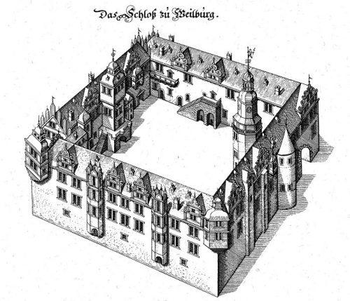 Schloss Weilburg, Stich nach Matthäus Merian 1646