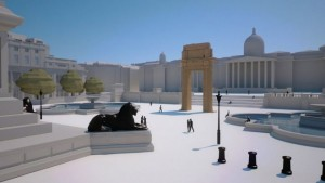 3D view of the 3D printed arch of Bel's temple in Palmyra as it should be placed in Trafalgar Square, London in April 20146