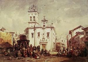 Eduard Hildebrandt - Largo de Santa Rita (1844) Aquarela coleção Staatliche Museen zu Berlin