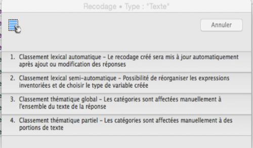 Modalisa : Le classement lexical peut-être automatique ou semi-automatique et le classement thématique est manuel.