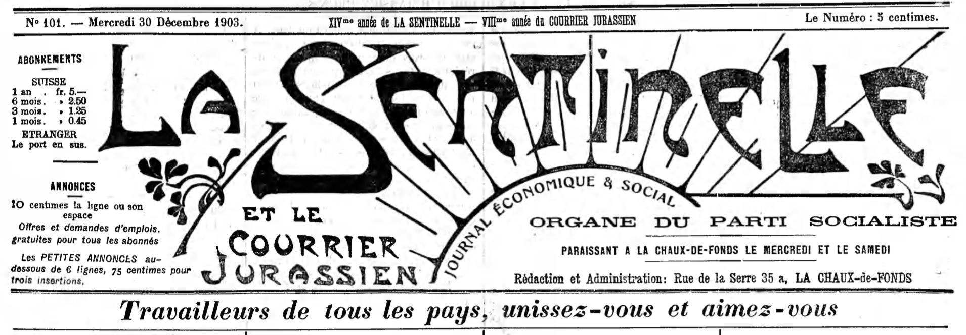 Titre La Sentinelle 1903