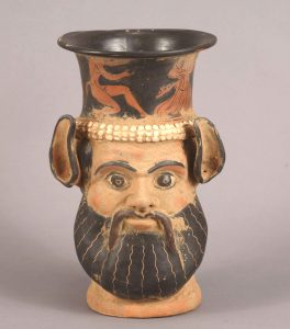 Fig. 2: Vase with the shape of Silenus, fifth century BC. http://ceramicheitalia.altervista.org/ceramiche-di-lusso/