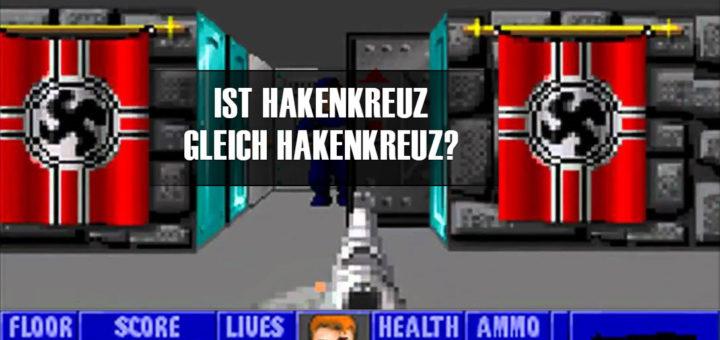 Ist Hakenkreuz gleich Hakenkreuz?   Screenshot aus Wolfenstein 3D, bearbeitet vom Autor