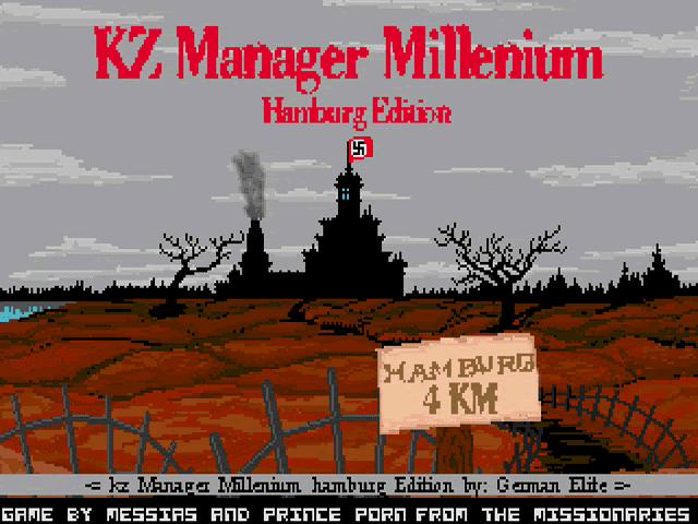 Abb. 3: Startbildschirm der Windows Version des 'KZ-Managers Millenium Hamburg Edition' (C64 u. a., German Elite, 1989), der wie viele andere rechtsextreme Propagandaspiele in den 2010er Jahren eine Folgeindizierung durch die BPjM erfahren hat. (via Wikipedia, https://en.wikipedia.org/wiki/KZ_Manager#/media/File:KZ_Manager_Millenium_title_screen.jpg, abgerufen am 27.05.2019)