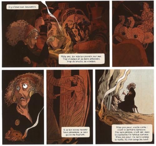 Fig. 2 : Mise en abyme de l'histoire de Médée. Médée 1. L'Ombre d'Hécate, Nancy Peña et Blandine le Callet, Casterman, 2013, p. 6, cases 3-7.