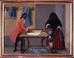 Anonym, De lobo y negra, chino, Mexico, 1775-1800. Painting, oil on copper, 36 x 48 cm. Madrid, Museo de América, Inv. 00058
