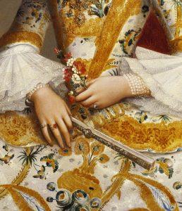Detail. Miguel Cabrera (Mexican, 1695-1768). Doña María de la Luz Padilla y Gómez de Cervantes, ca. 1760. Oil on canvas, 43 x 33 in. (109.2 x 83.8 cm). Brooklyn Museum, Museum Collection Fund and Dick S. Ramsay Fund, 52.166.4