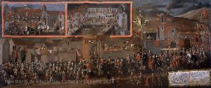 Pérez de Holguín, The Entrance of Don Diégo Morcillo, Viceroy of Peru, in the city of Potosí, in 1716, Bolivia, 1716. Painting, oil on canvas, 240 x 570 cm. Madrid, Museo de América, Inv 00087