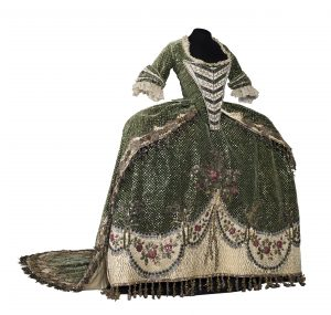 Front view of the green silk velvet court dress, 1780-1790. Mexico, National History Museum of Mexico (MNH). Photograph by Omar Dumaine