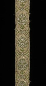 Ribbon made of woven silk, with silver and silver gilded threads, French 1700-50. London, Victoria and Albert Museum, 1357-1871