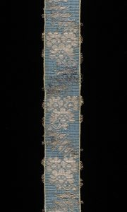 Blue and silver ribbon made of woven silk with silver, France, 1700-70. London, Victoria and Albert Museum, 1358-1871