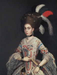 Miguel de Herrera, Portrait of a lady (wearing a stomacher on the front of the bodice), 1782, oil on canvas, 125 x 101 cm. Mexico, Franz Mayer Museum Collection