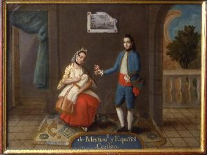 De Mestiza y Español, Castizo, Anonymous, ca.1775-1800, oil on copper, 36 x 49 cm, Madrid, Museo de América, inv.00051
