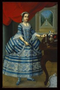 Portrait of Doña Mariana Belsunse y Salasar, Lima, 1770-80, José Joaquim Bermejo (Peru, ca. 1760-1792). Oil on canvas, 198,4 x 127,2, New York, Brooklyn Museum of Art, Gift of Mrs L.H. Shearman, 1992.212