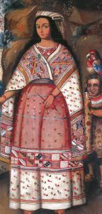 Portrait of a Nusta, 18th century, Cusco, Museo Inka, Universidad Nacional San Antonio Abad del Cusco. The colonial noble woman from Cusco is wearing her traditional manta and head-cloth over a colonial dress and holding a spindle in her hand.