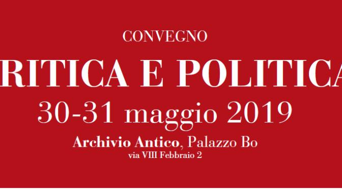 30-31.05.2019 Convegno CRITICA E POLITICA