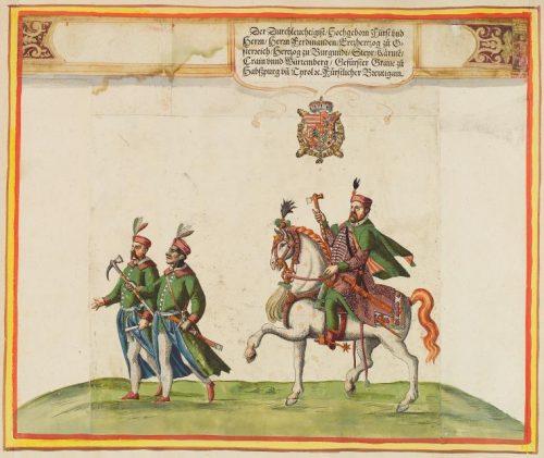 Illustration de l'album commémorant les festivités du mariage de l'archiduc Ferdinand en 1582. Cavaliers.
