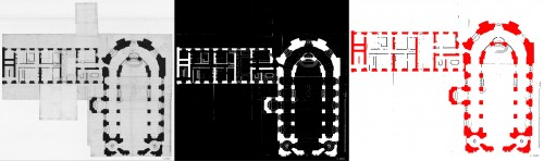 Détection des murs : plan transformé en niveaux de gris, image binarisée, murs principaux (en rouge) et cloisons (en noir) détectés sur ce plan. © ETIS