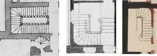 Exemples d'escalier dans les plans anciens du Château de Versailles. © ETIS