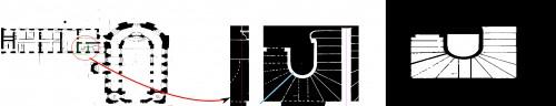 Détection des escaliers : localisation grossière par l'opérateur, « boîte englobante » détectée par le logiciel. © ETIS