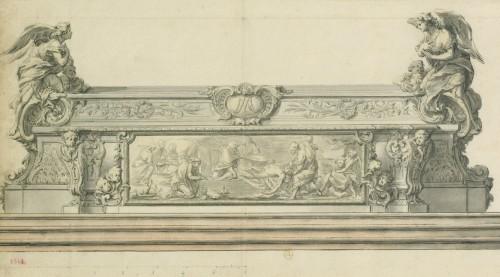 Paris, cathédrale Notre-Dame : élévation dudit coffre d'autel, dessin par Antoine François Vassé, Cabinet Robert de Cotte, 1712].
