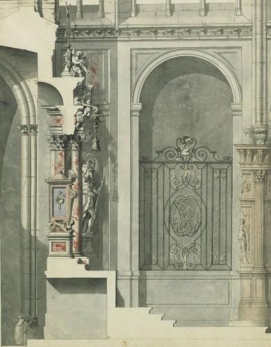 Paris, église Saint-Jacques-de-la-Boucherie : profil du maître-autel, dessin par Gilles-Marie Oppenort, 1710.