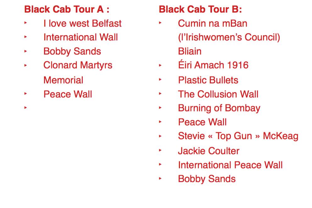 Liste des fresques observées lors des tours en Black Cab respectifs.