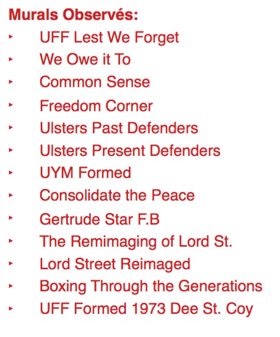 Liste des fresques observées lors du tour dans East Belfast.