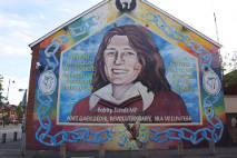 "Crowely T., 2006, ""Republican mural, Sevastopol Street/Falls Rd., West Belfast. Mural on side of Sinn FeinOffices depicts Bobby Sands – first Hunger Striker to die 1981. Mural originally painted 1998, re-painted 2000 on re-built offices."" Clarmont Colleges Digital Library http://ccdl.libraries.claremont.edu/cdm/compoundobject/collection/mni/id/1260/rec/38"