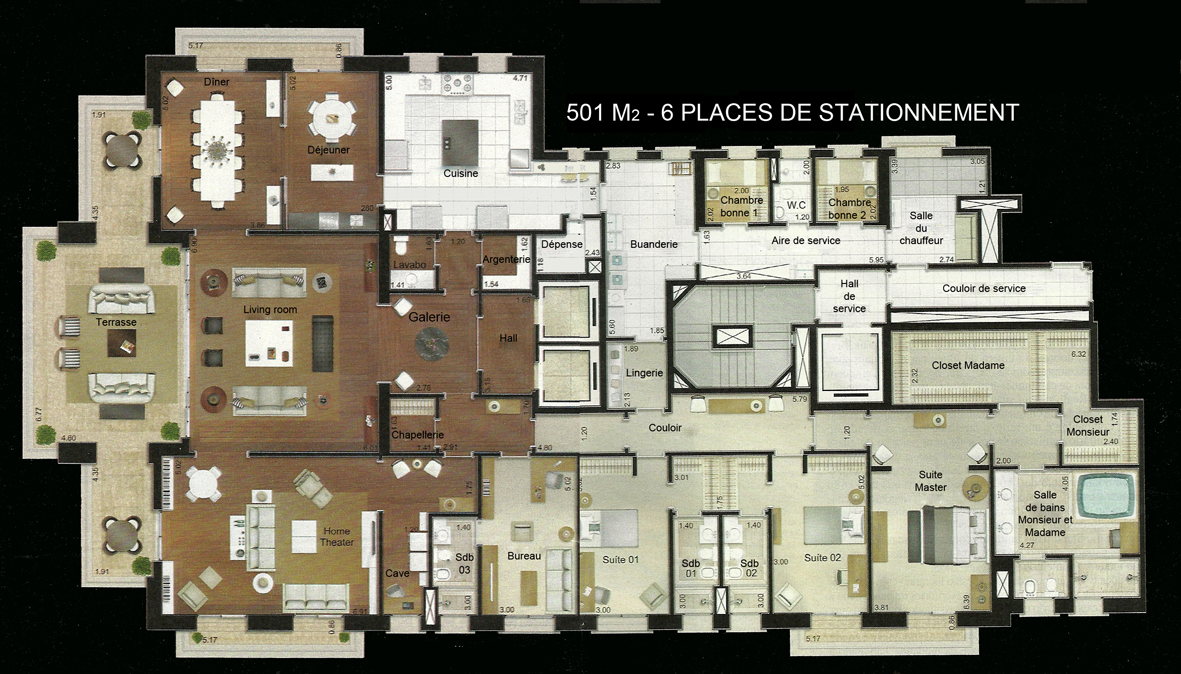 Plan appartement luxe for Maison appartement
