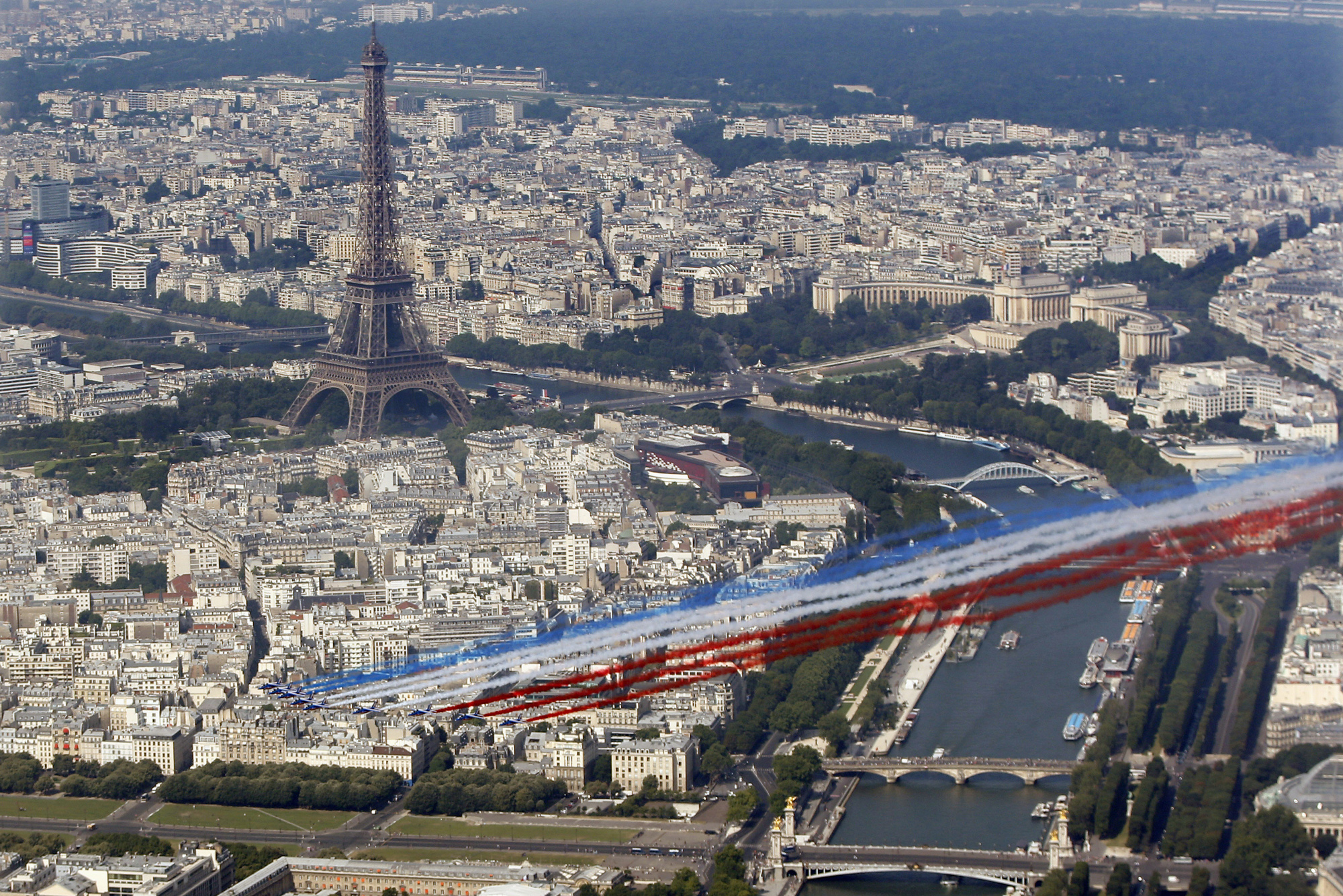 The French aerial display team Patrouille de France (French Aerobatic Patrol) flies in front