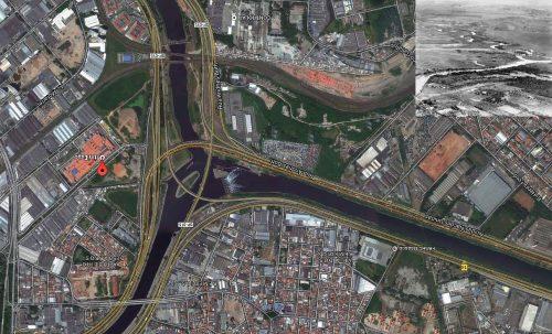 Confluent Pinheiros-Tiete Earth hier et aujourd'hui 2