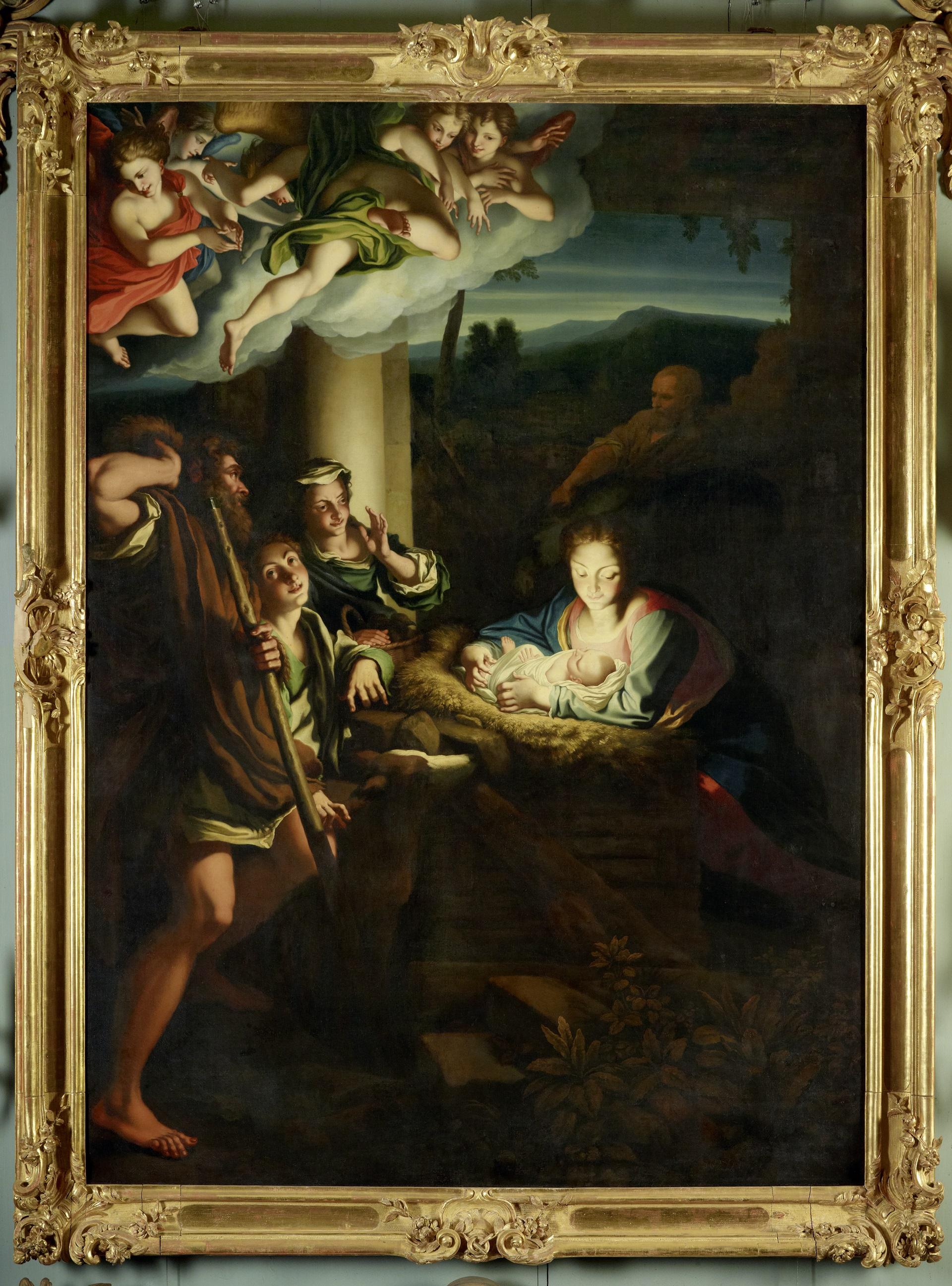 Christian Wilhelm Ernst Dietrich nach einer Vorlage von Antonio Allegri da Corregio, Anbetung der Hirten / Heilige Nacht, 1755, Öl auf Leinwand, 263 x 187 cm, GK I 5216, Copyright: SPSG