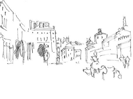 Croquis R. Courtot d'après Turner du dessin représentant le haut du cours Mirabeau à Aix-en-Provence (carnet CCXCV/87, D29548