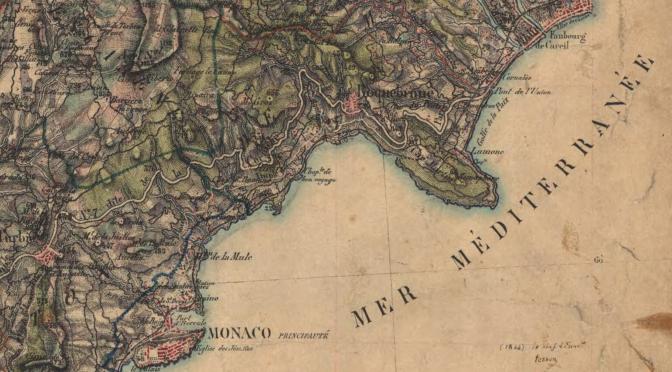 """Itinéraire de la route N7 dite """"route de la corniche entre La Turbie et Menton sur la carte de Grasse au 1/40000e de 1866, IGN < Remonter le temps>"""