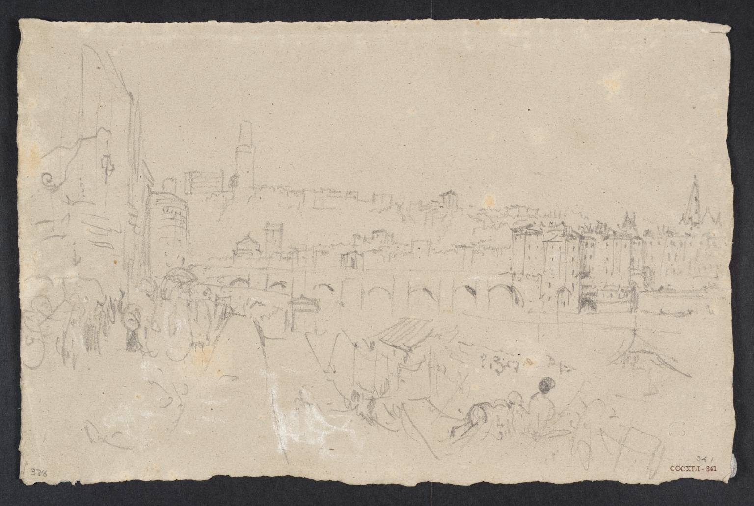 Town beside River, with Buildings on High River-Banks circa 1830-41 Joseph Mallord William Turner 1775-1851 Accepted by the nation as part of the Turner Bequest 1856 http://www.tate.org.uk/art/work/D34061