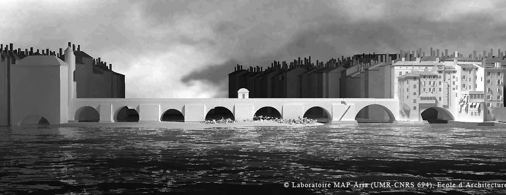 Le Pont du Change sur la Saône à Lyon, vu de l'aval vers le nord: image numérique Ecole d'architecture de Lyon