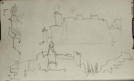 Turner carnet CCXXIX 36 D20972 Marseille le Fort Saint-Jean vu de la rive sud de l'entrée du port (Pharo)