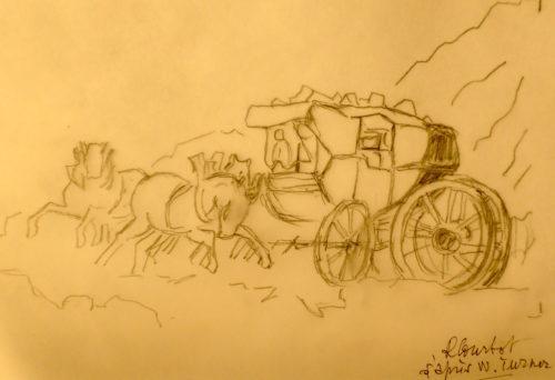 """Croquis schématique RCourtot d'un détail de """"Tempête de neige, Mont-Cenis"""" par William Turner (1820): une diligence de voyageurs fait demi-tour sur place dans la montée du col du Chat pour échapper à une tempête de neige et à des bandits de grand chemin"""